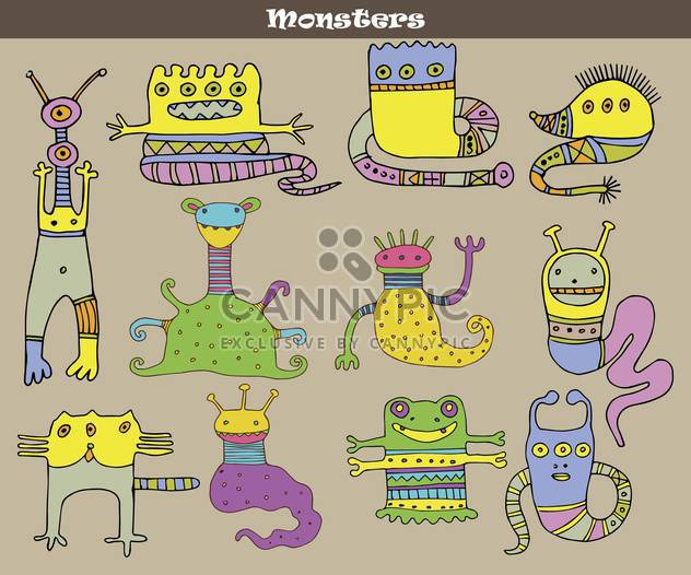 Banner mit bunten Cartoon Monster - Kostenloses vector #135071