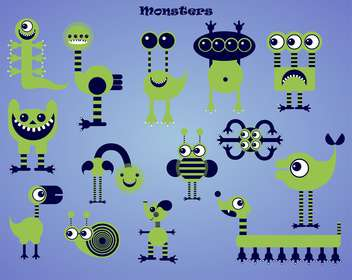 set of green cartoon monsters illustration - vector gratuit #135081