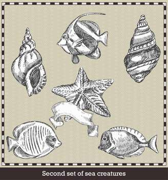 retro set of sea fish, seashells and starfish - vector #135111 gratis