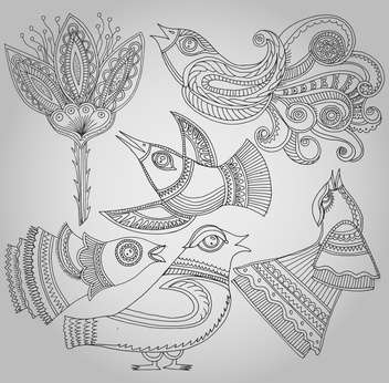 set of fantastic birds and flowers in folk style. - vector #135151 gratis