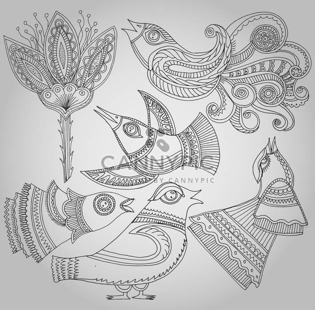 set of fantastic birds and flowers in folk style. - Free vector #135151
