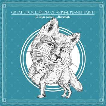 fox illustration for great encyclopedia of animals - vector gratuit #135171