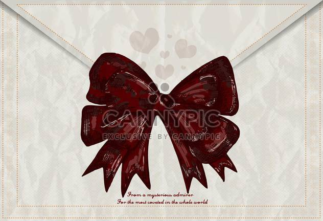 valentines day card with red retro bow on envelope - Free vector #135251