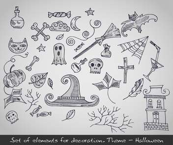 various decorative elements for halloween holiday - Free vector #135271