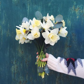 Bouquet of daffodils in female hand - image #136531 gratis