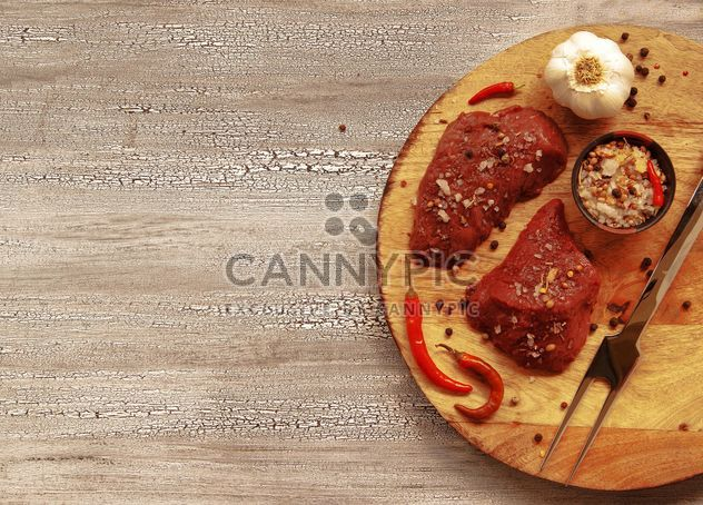 pieces of raw meat with spices barbecue - image #136671 gratis