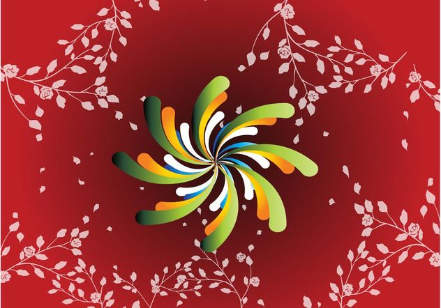 Red Floral Spiral Background - Free vector #138801