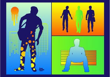 Urban Men Silhouettes - Free vector #138941