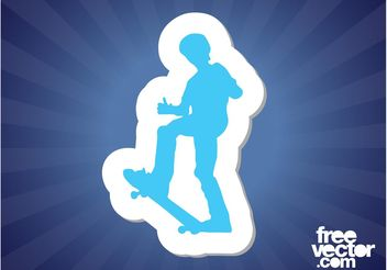 Skater Sticker - Free vector #139041