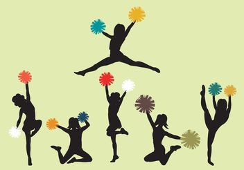 Set of Cheerleader Silhouette Vectors - Free vector #139081