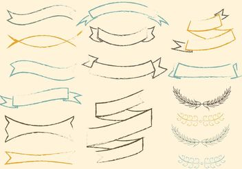 Free Sketchy Vector Ribbons Set - Free vector #140141