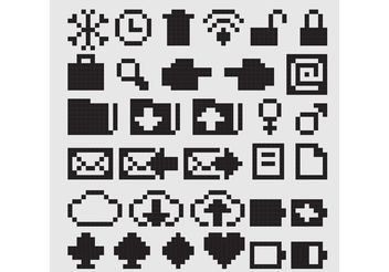 Black 8 Bit Vector Icons - Free vector #140781