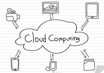 Cloud Computing Concept Sketch On Paper Vector - Free vector #140851