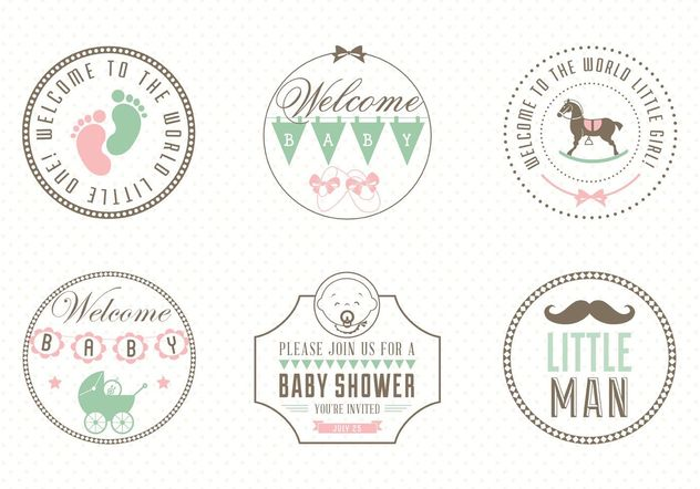 Free Baby Label Set Vector - Free vector #140881