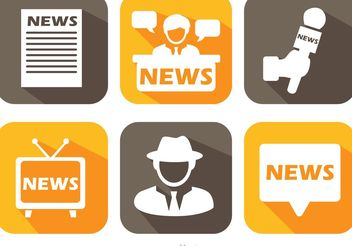 News Media Long Shadow Icons Vector - Free vector #140921