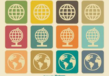 Vintage Earth / Globe Icons - Free vector #140941