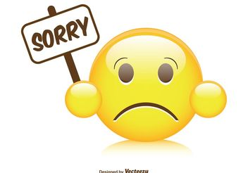 Cute Sorry Smiley Illustration - Free vector #141051
