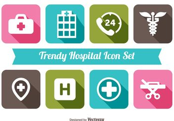 Trendy Hospital Icon Set - Free vector #141081