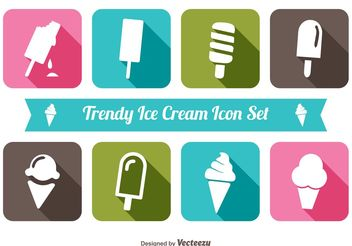 Trendy Ice Cream Icon Set - vector gratuit #141091