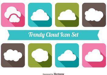 Trendy Cloud Icon Set - vector #141131 gratis
