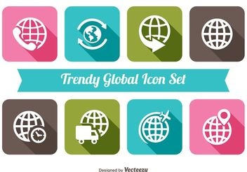 Trendy Global Icon Set - vector #141171 gratis