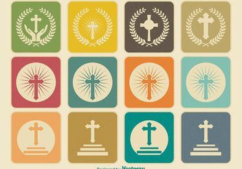 Retro Religious Cross Icons - Kostenloses vector #141191