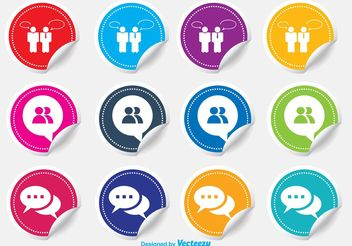Live Chat Sticker Icons - vector gratuit #141201