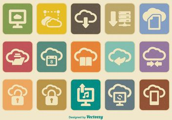 Retro Cloud Computing Icon Set - Free vector #141231