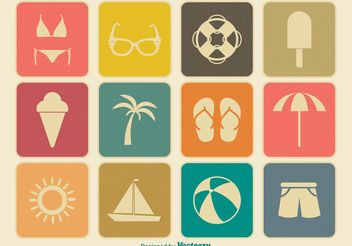 Vintage Summer Icon Set - vector gratuit #141261