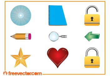 3D Icons Set - vector gratuit #141281
