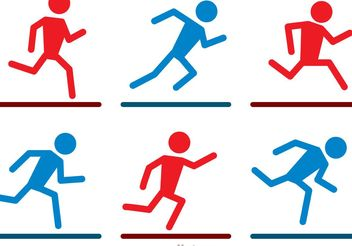 Running Stick Figure Icons Vector Pack - Free vector #141361