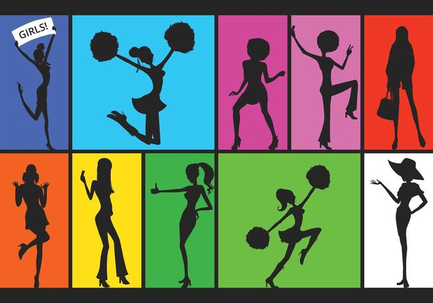 Free Silhouette Of Active Girls Vector - vector gratuit #141461