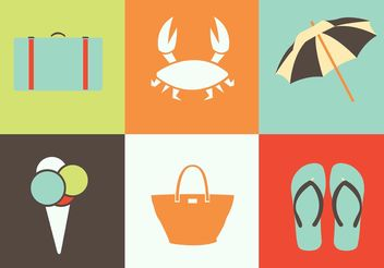 Summer Icon Vectors - Free vector #142171