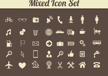 Retro Mixed Media Icon Vectors - Free vector #142181
