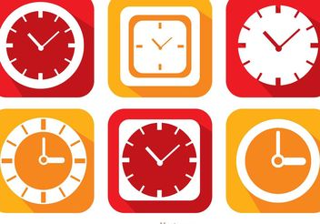 Flat Clock And Time Icons Vector Pack - Kostenloses vector #142281