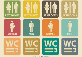 Retro Restroom Icons - Free vector #142391