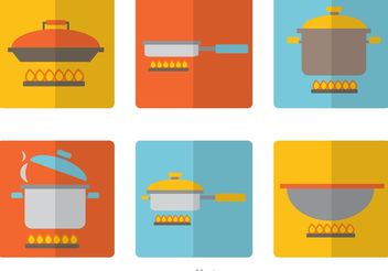 Cooking Equipments Flat Icons Vector Pack - vector gratuit #142741
