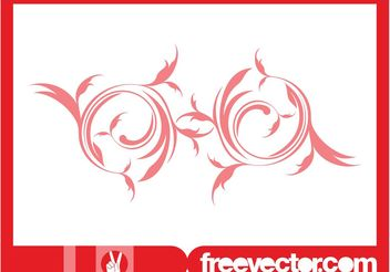 Red Floral Swirl Vector Ornament - vector gratuit #142961
