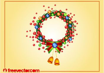 Christmas Wreath Vector Art - Free vector #143011