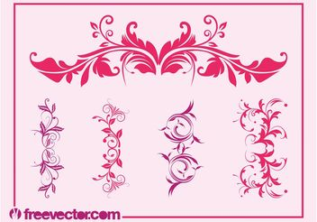 Vintage Floral Ornaments Set - Free vector #143041