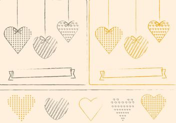 Sketchy Hearts and Valentine Ornament Vectors - Free vector #143411