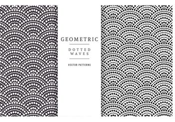 Free Geometric Dotted Waves Vector Patterns - vector gratuit #143661