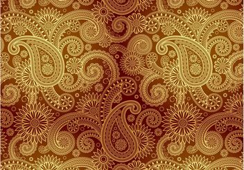 Golden Damask Pattern - Free vector #144051