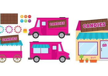 Pink Food Cart And Candy Shop - Free vector #144851