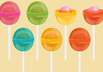 Lollipops With Bubblegum Vectors - vector gratuit #144921