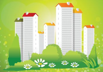 Green City Living Vector - vector gratuit #145141