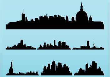 Cityscapes Silhouettes Set - Free vector #145381