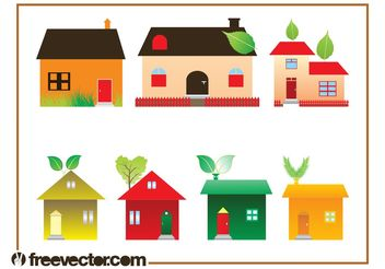 Eco House Graphics Set - vector gratuit #145401