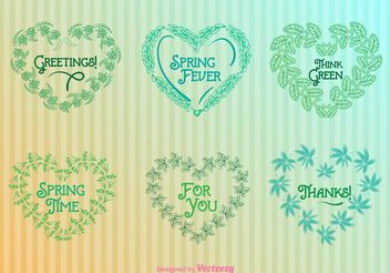 Nature Heart Wreaths Templates - vector gratuit #145731