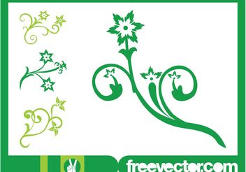 Decorative Flowers Designs - vector gratuit #145801
